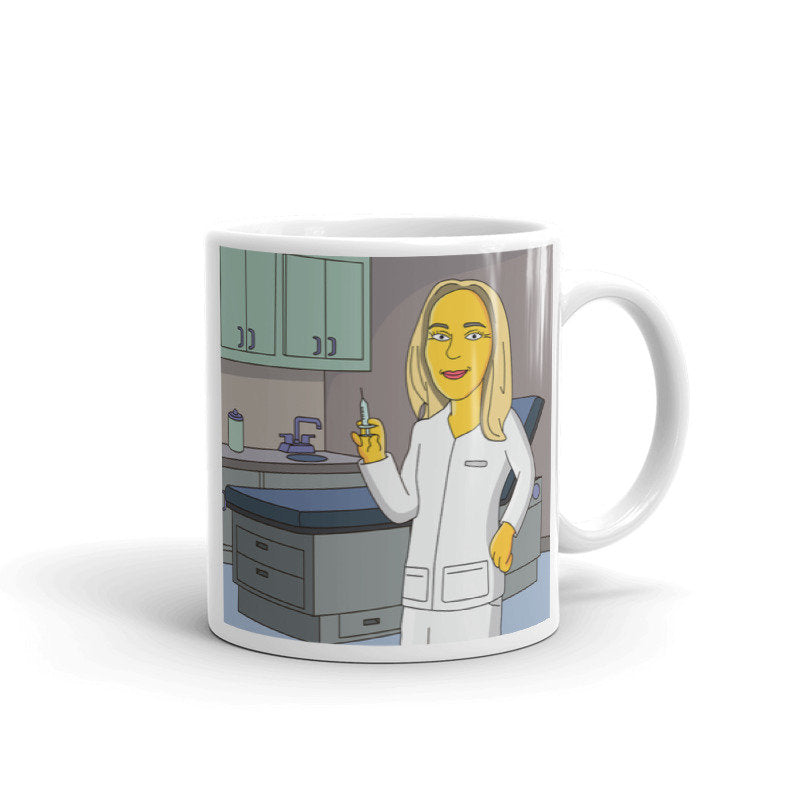 Nurse Mug - yellow cartoon character portrait printed on mug / custom nurse coffee mug / nurse practitioner mug