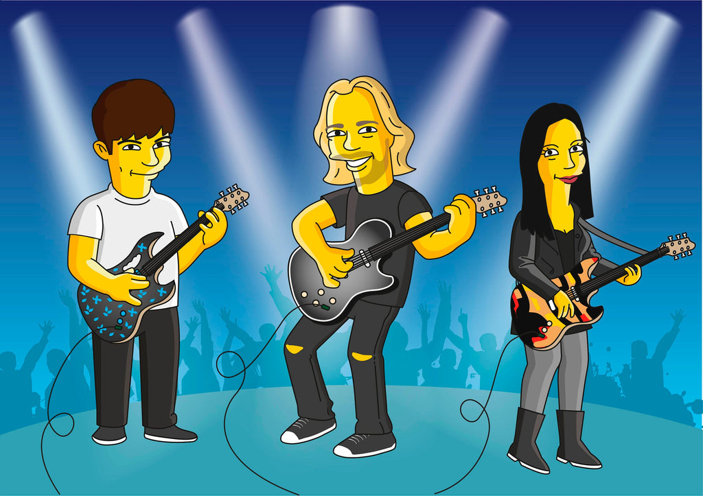 Music band gift - Portrait as Cartoon Characters / musicians band gift / band member gift