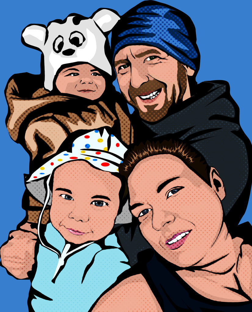 Family Pop Art Portrait from your Photo / Family Andy Warhol Style Portrait / custom pop art portrait