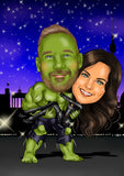 Hulk wedding gift - custom portrait from your photo / hulk and wonder woman / hulk and batgirl / hulk and black widow