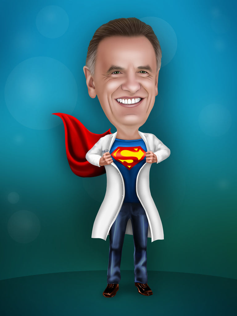 Doctor Superhero - Superhero Portrait from your photo / Doctor appreciation gift / Doctor recognition gift / Doctor of the year gift