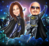 Batman and Batgirl Portrait from your photo / Batman and Catwoman / Batman and Batgirl invitations / Batman and Batgirl party