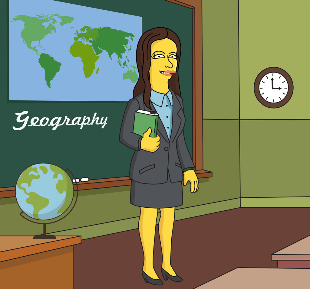 Geography Teacher Gift - Custom Portrait as Cartoon Character / geography professor gift / geographer gift