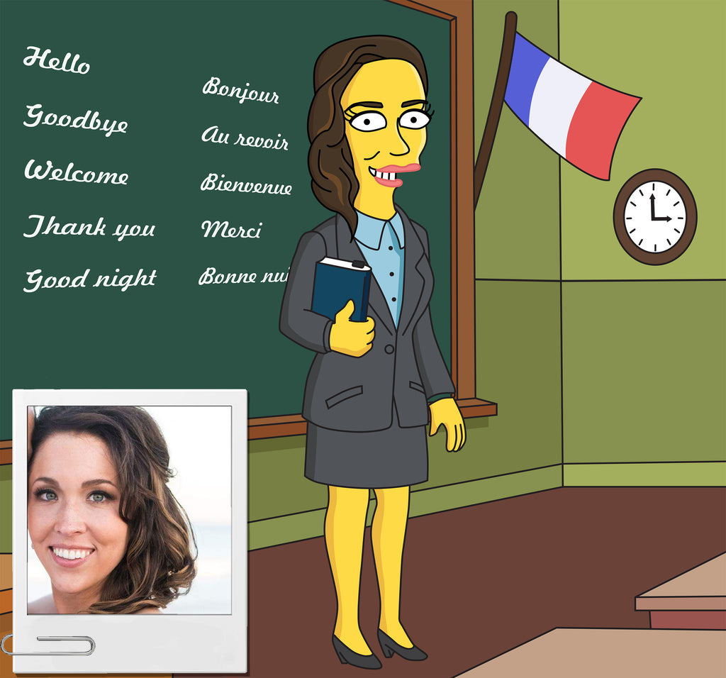 French Teacher Gift - Custom Portrait from Photo as Cartoon Character / French professor gift / en francais