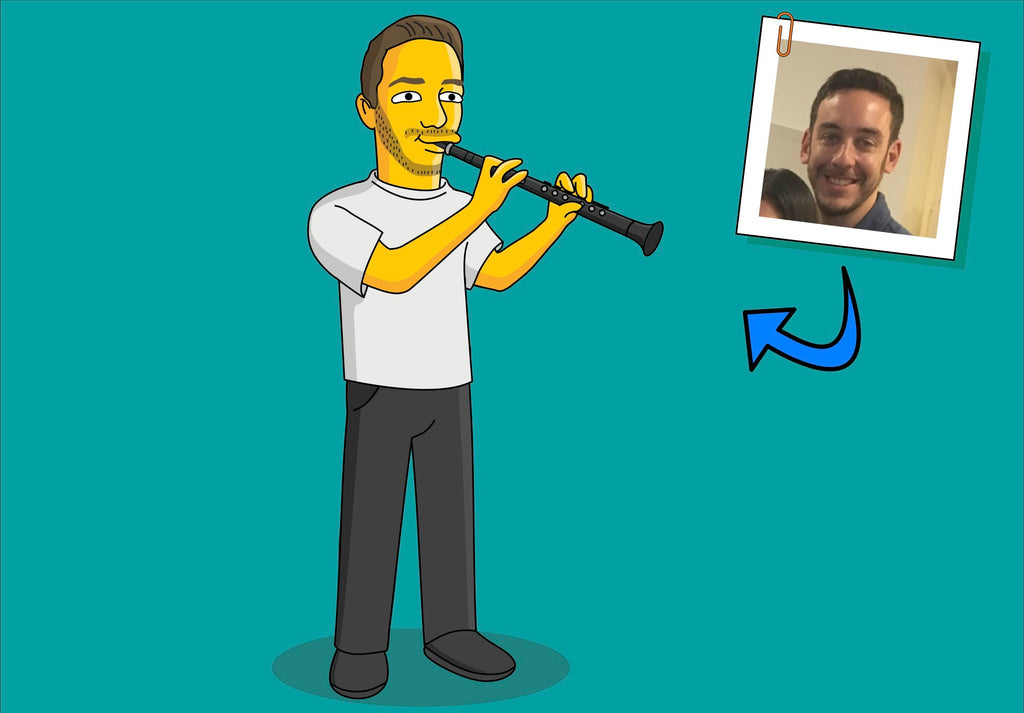 Clarinet Player Gift - Portrait as Cartoon Character / Clarinetist gift / Clarinet art / Clarinet gift