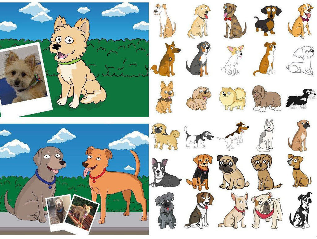 Custom Dog Portrait from photo / custom dog cartoon from photo / digital dog portrait / custom dog illustration / dog breed art