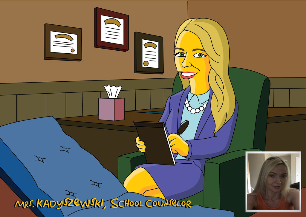 School Counselor Gift  - Custom Portrait as Cartoon Character / guidance counselor / school psychologist gifts / school psych gift