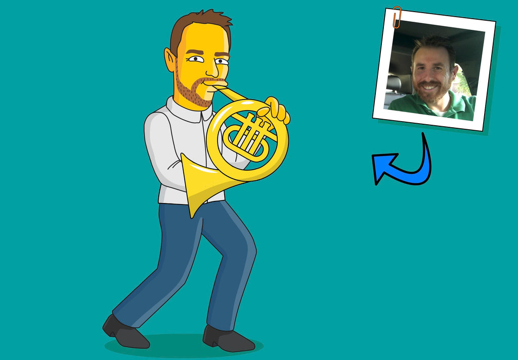 French Horn Player Gift - Portrait as Cartoon Character / French Horn Art / French Horn Gift / French Horn instrument