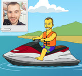 Jetski Lover Gift - Custom Portrait from Photo as Yellow Character / Jet ski gift / Jetski art