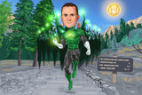 Green Lantern Portrait from your photo / Green Lantern art / Green Lantern gift / Green Lantern invite / Hal Jordan