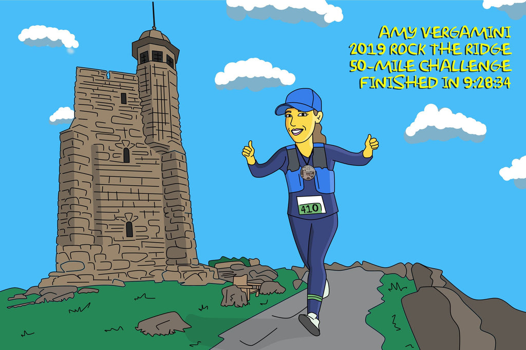 Ultramarathon Runner Gift - Custom Cartoon Portrait / Marathon Runner Gifts / Ultrarunning / Ultrarunner gift