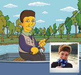 Angler Gift  - Custom Cartoon Portrait from Photo / weekend hooker gift / fly fishing gifts