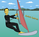 Windsurfer Gift  - Custom Cartoon Portrait from Photo / windsurfing art / wind surfing / wind surf / surfing art / surf art / kitesurfing
