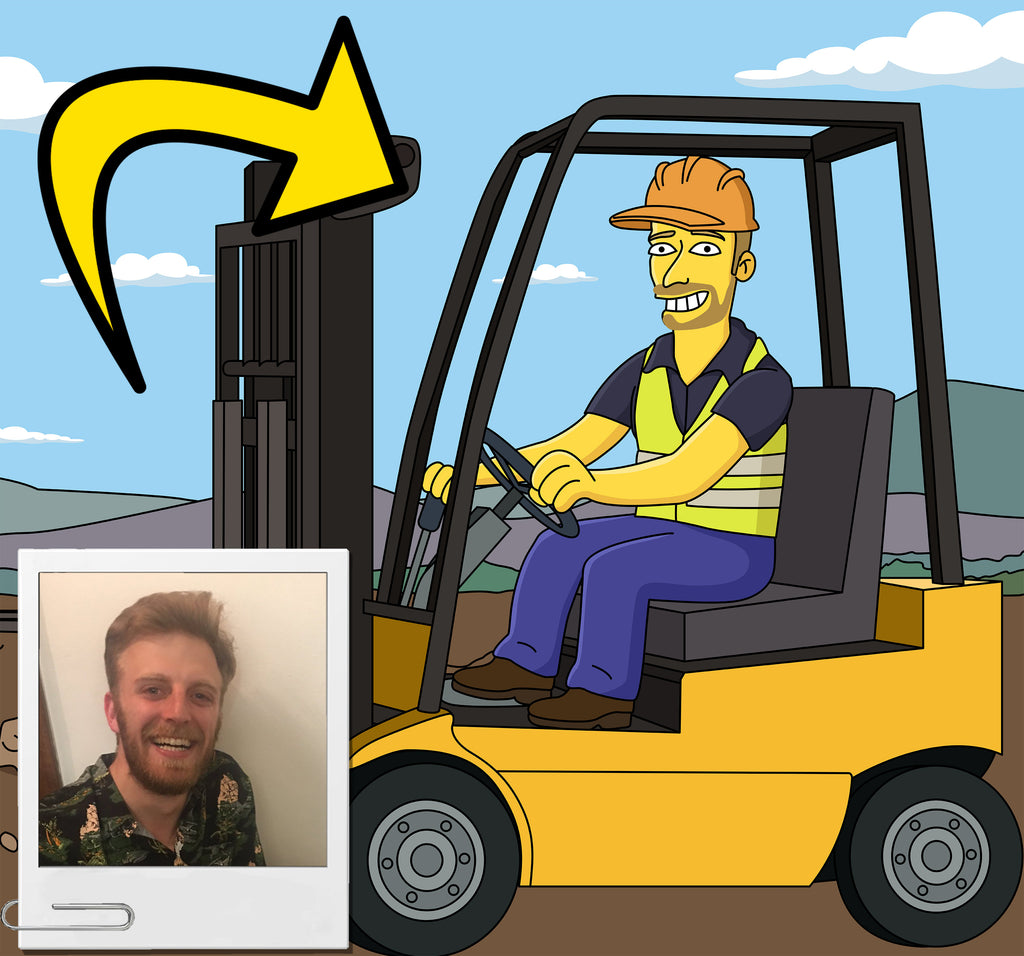 Forklift Driver Gift - Custom Portrait from your Photo as Yellow Character / Forklift Operator Gift