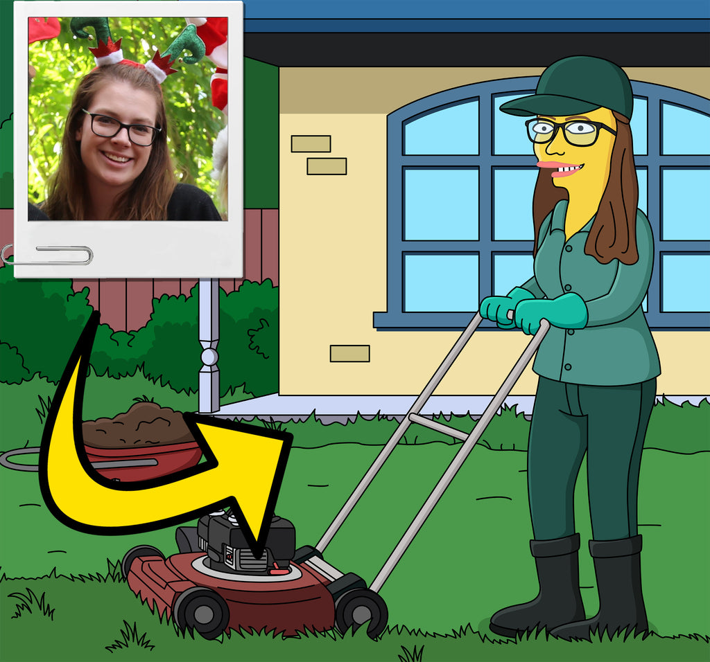 Lawn care professional gift - Custom Portrait from Photo as Yellow Character / Groundskeeper gift