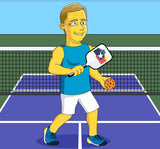 Pickleball Player Gift - Custom Portrait from Photo as Yellow Character / funny pickleball gift