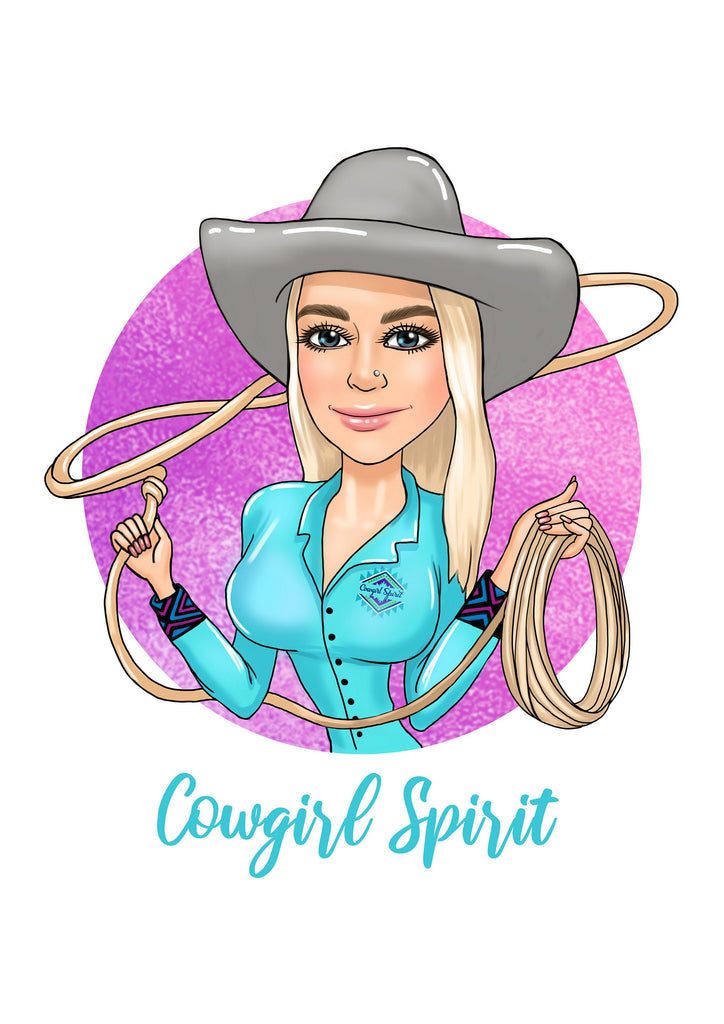 Cowgirl Logo Design - custom portrait logo for your business