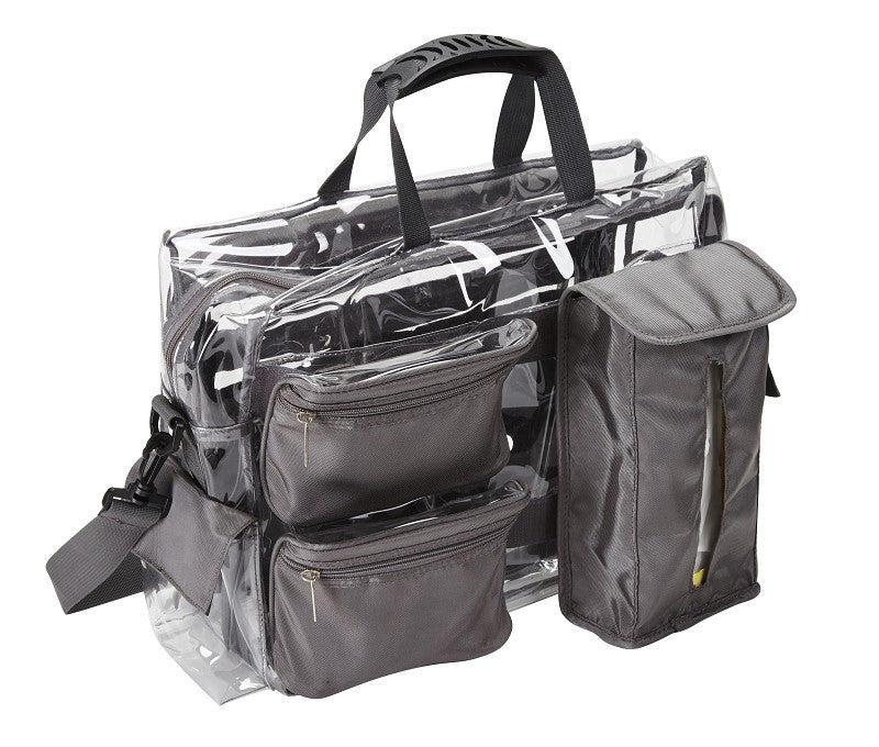 Black Ultimate Makeup Artist Clear Set Bag with Removable Pouches