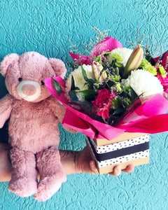 Oh Baby - Flowers and a Bear