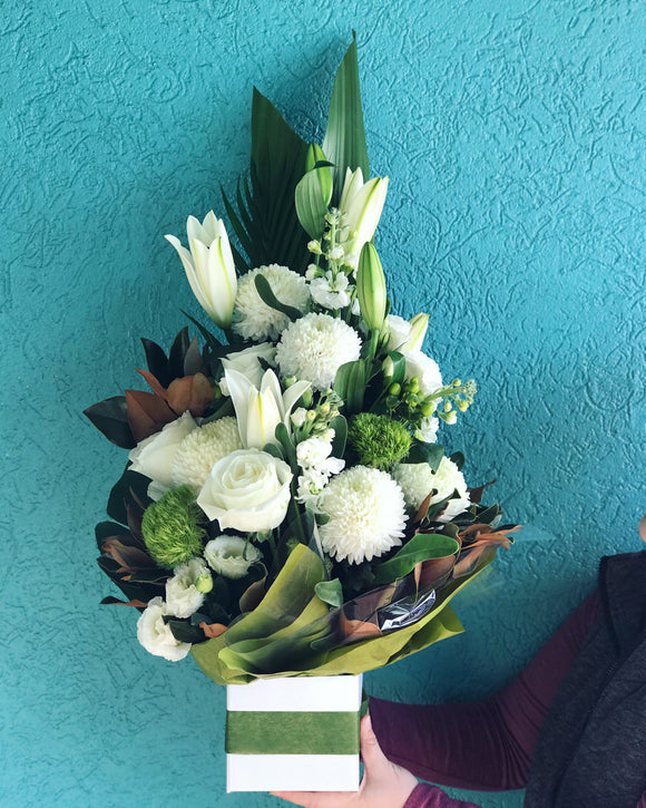 Luxe Green & White Box Arrangement