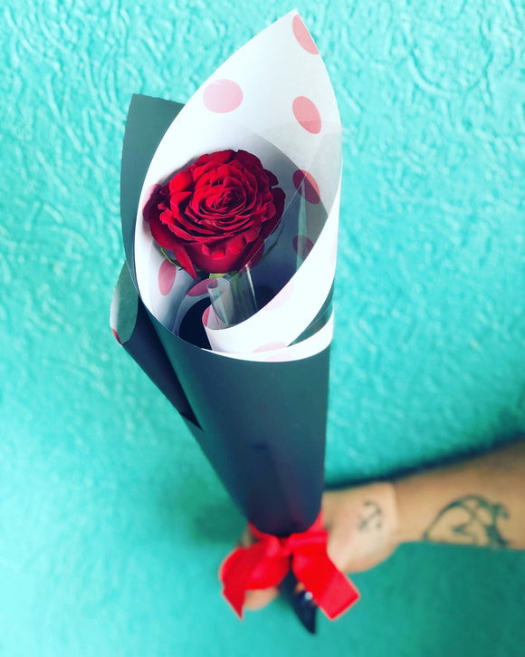 Single Red Heart Rose wrapped in deluxe paper