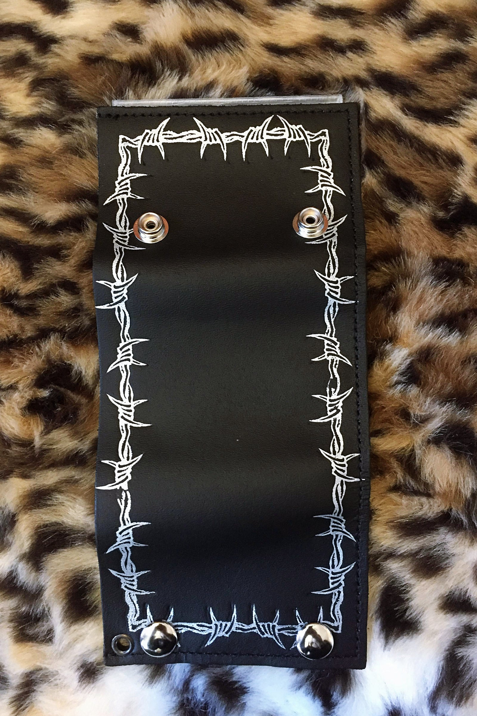 Barbed Wire Chained Leather Wallet (Last One)