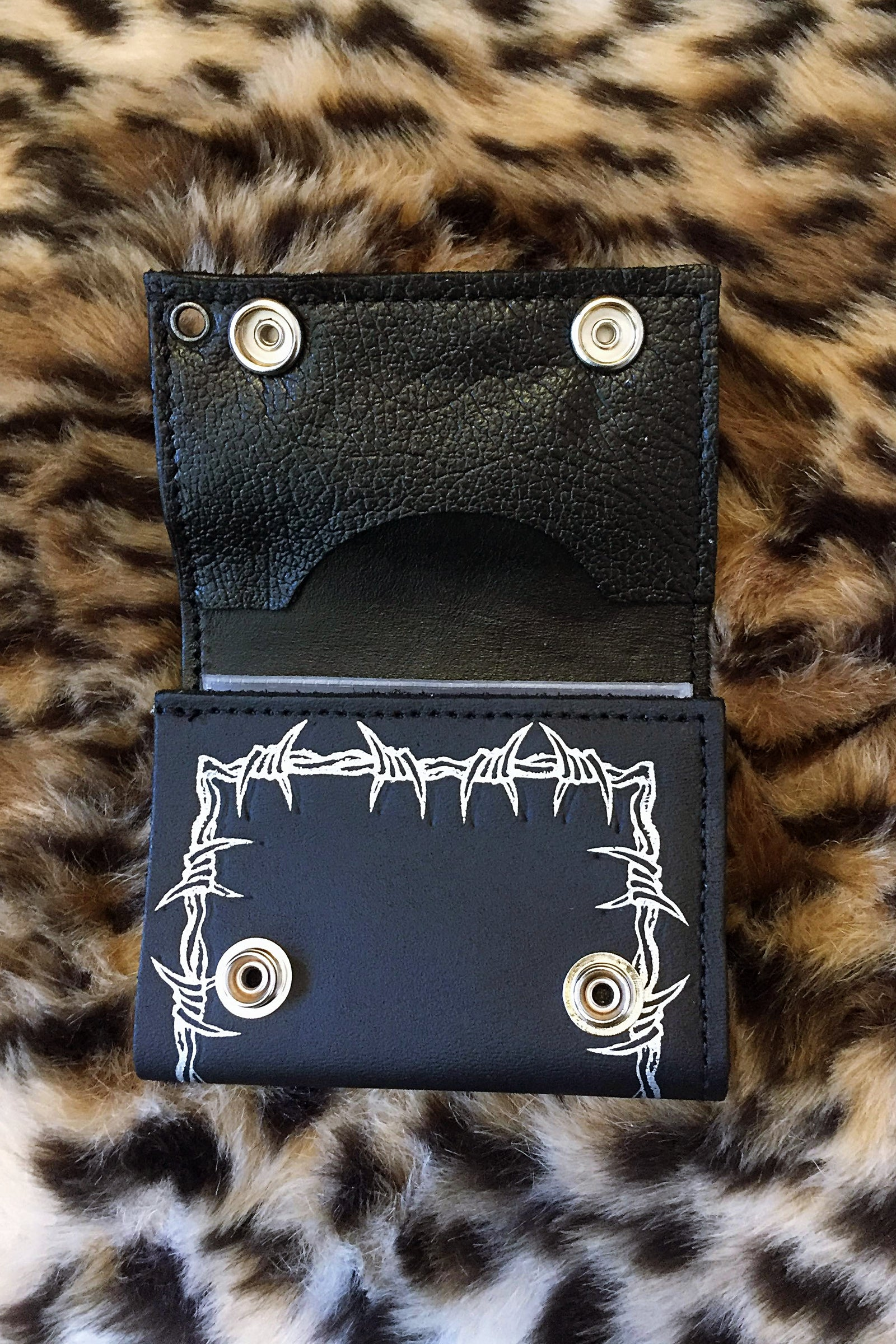 Barbed Wire Chained Leather Wallet