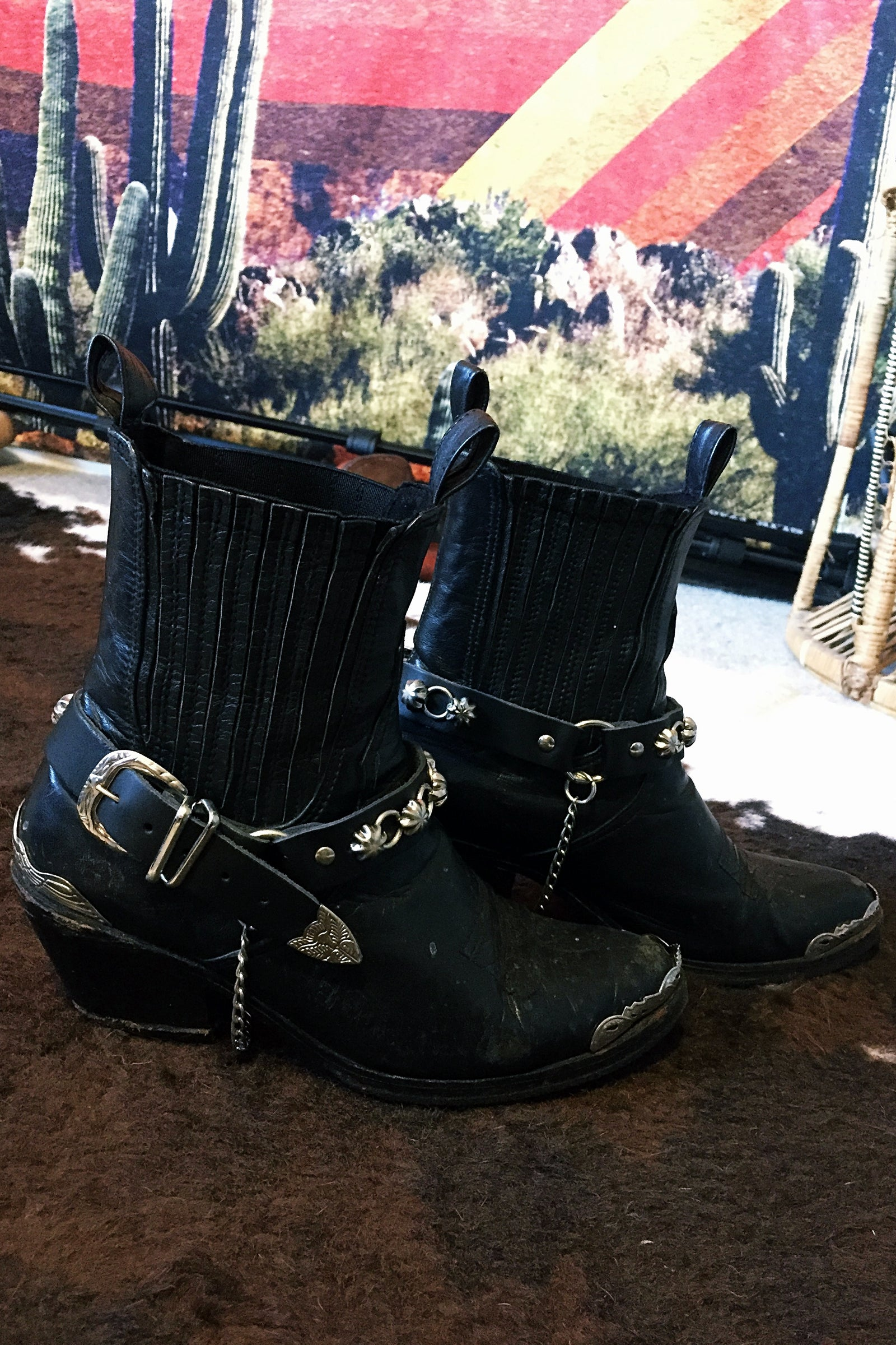 Black Leather, Concho & Chain Bootstraps