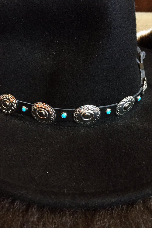 Leather, Turquoise and Concho Hatband