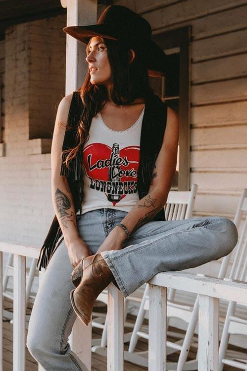 Ladies Love Longnecks Lace Tank