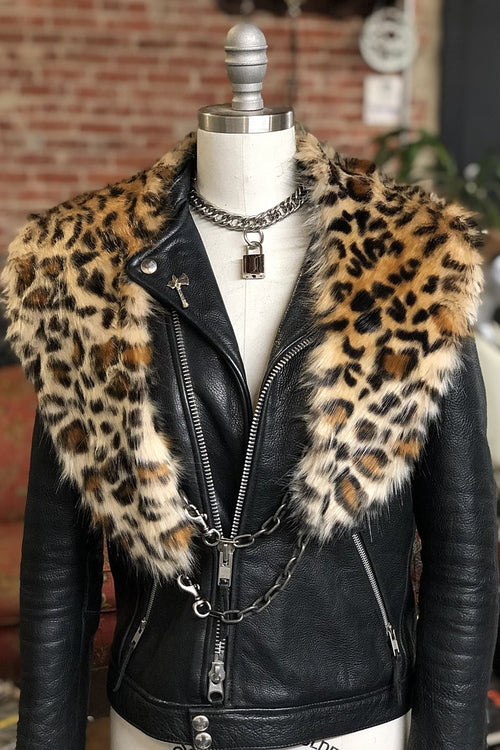 Leopard Faux Fur Stole by Hell Bent Leather