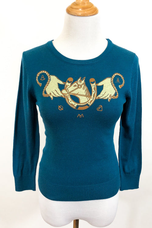 Hold Your Horses Sweater - Teal