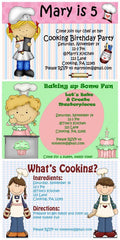 Kids Cooking Party Invitations