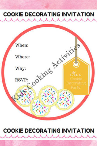 Printable Kids Cooking Party Invitation - Cookie Decorating Invitation