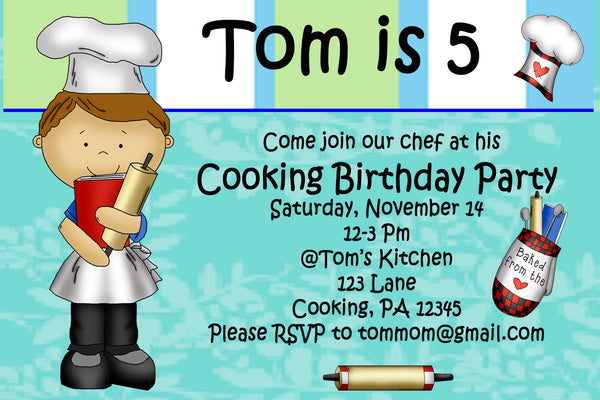 Printable Kids Cooking Party Invitation Birthday Chef