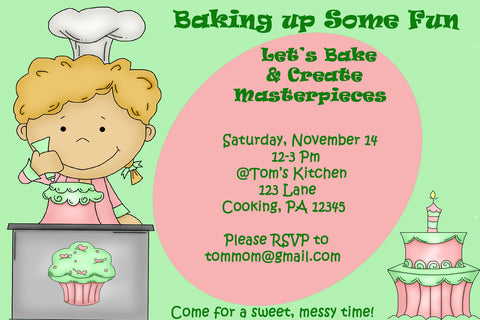 Printable Kids Cooking Party Invitation -Baking Theme