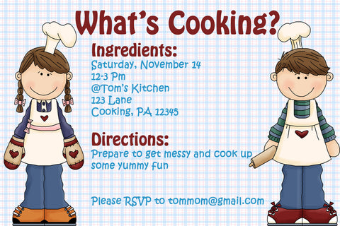 Printable Kids Cooking Party Invitation - Recipe Card Theme