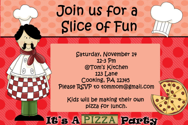 printable kids cooking party invitation