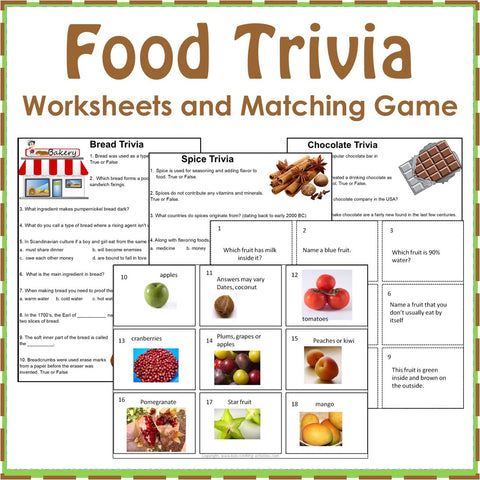Food Trivia Worksheets and Matching Card Game
