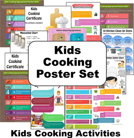Kids Cooking Poster Set - Digital Download Bundle