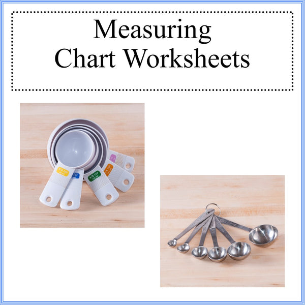 Kitchen measuring chart worksheets kids cooking activities for Kitchen remodel measuring guide