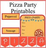 Printable Pizza Party Printables Set - Pizza Party Invitation, Party Labels and Decorations