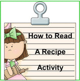How to Read a Recipe Activity Worksheets