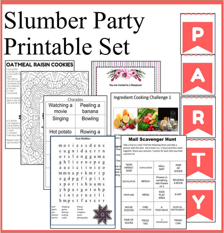 Slumber Party Printables Set- Sleepover Party Games and Slumber Party Recipes
