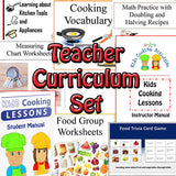 Teacher Curriculum Set for Teaching Children Cooking -Lesson Manuals, Cooking Posters, Cooking Worksheets