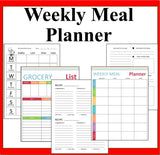 Weekly Menu Planner, Meal Planner Binder Organizer, Printable Weekly Menu Planner with Grocery List, Menu Planning Printables