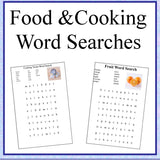 Cooking and Food Theme Word Searches