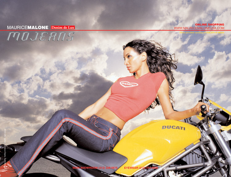 Mojeans 2000 fashion advertisement - Maurice Malone x Ducati Miami