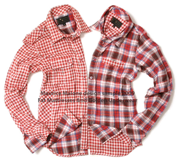 Fashion designer Maurice Malone 2009 men's plaid shirt design samples for FM&GU