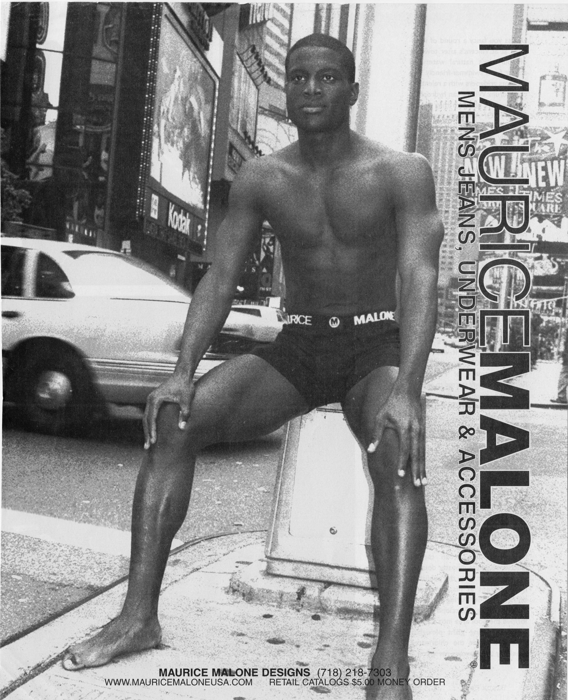 Maurice Malone brand Spring 1998 mens underwear advertisement shot in Times Square, New York 1997